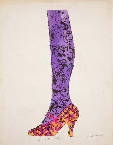 """Andy Warhol, Shoe and Leg (""""December Shoe""""), ca. 1956, The Andy Warhol Museum, Pittsburgh, © The Andy Warhol Foundation for the Visual Arts, Inc."""