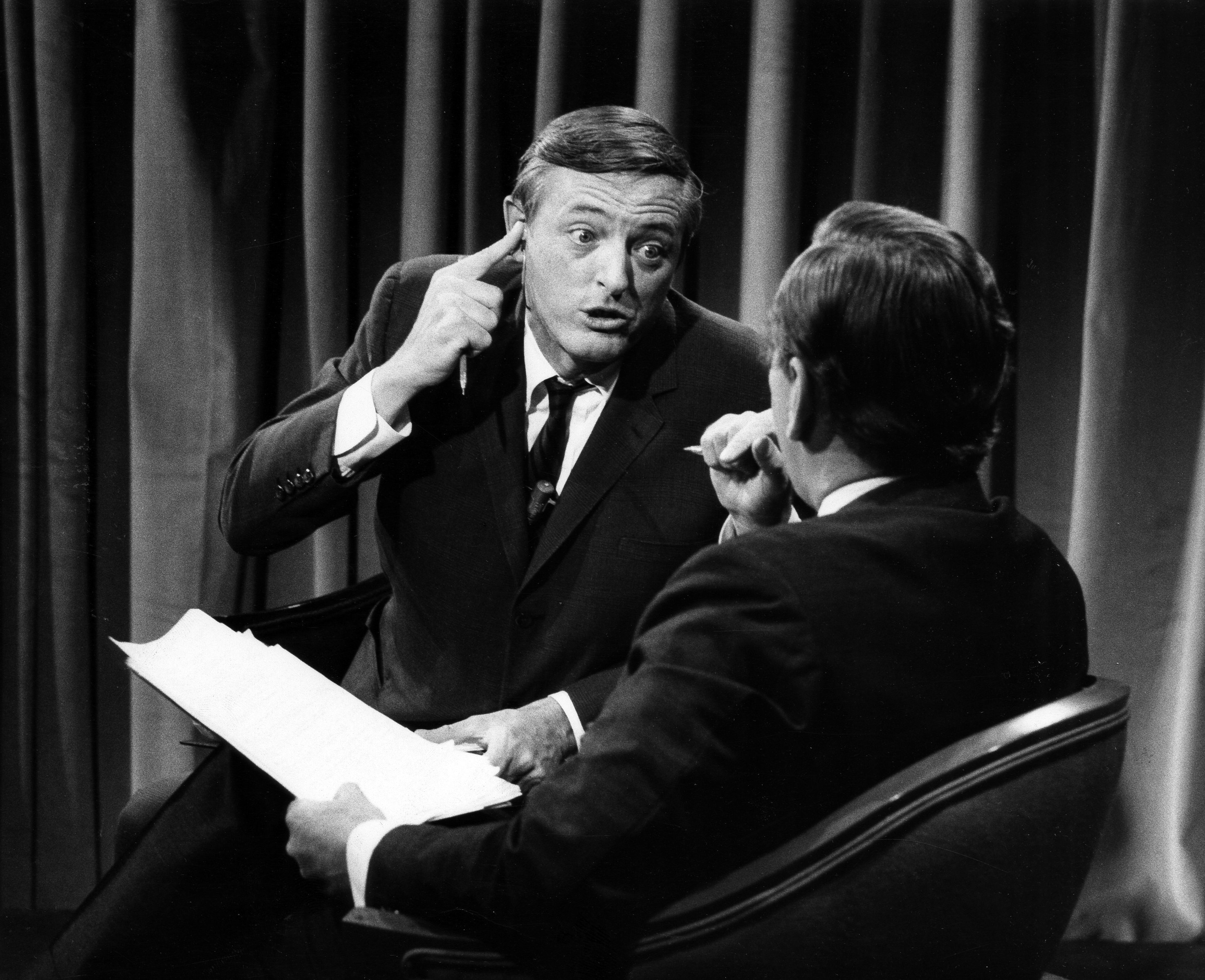 """ABC NEWS - ELECTION COVERAGE 1968 - """"1968 Elections"""" - Airdate November 5, 1968. (Photo by ABC Photo Archives/ABC via Getty Images) WILLIAM BUCKLEY;GORE VIDAL"""