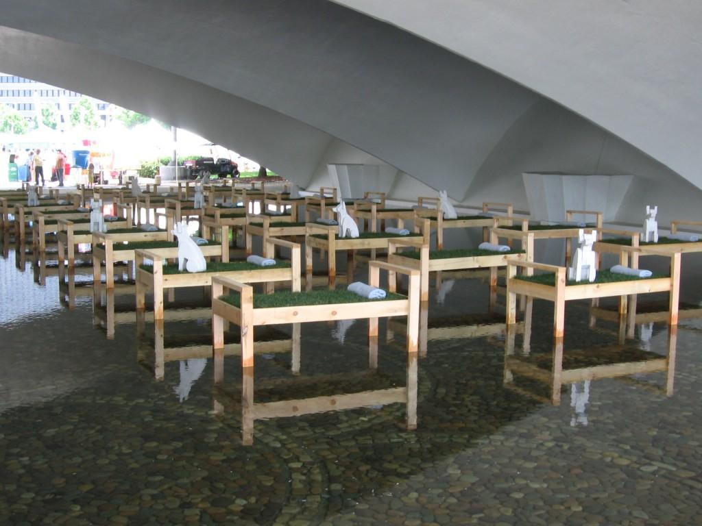 "Art installation ""Confluence"" by Fernando Orellana under the Portal Bridge."