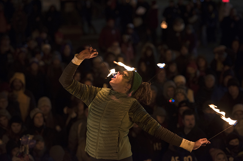 Erika May of Steel Town Fire performs at the Fire and Ice Plaza. May is a cofounder of the troupe.