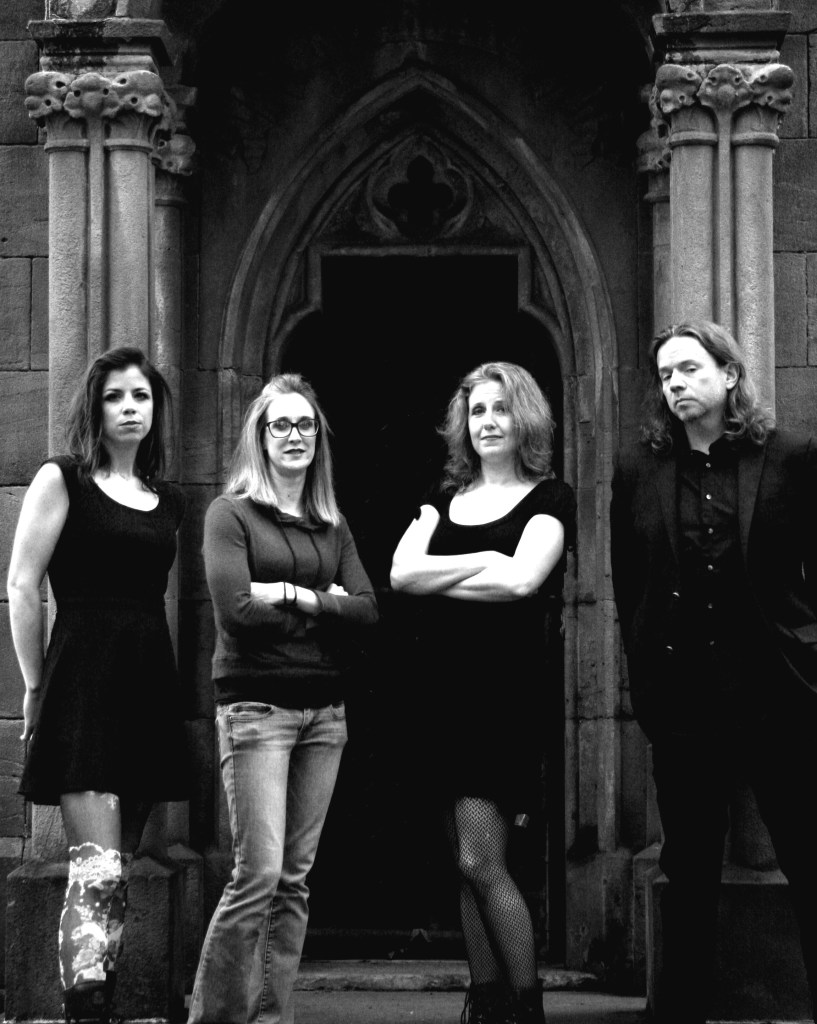 Murder for girls includes (left to right) Stephanie Wallace, Michele Dunlap,Tammy Wallace, and Jonathan Bagamery.
