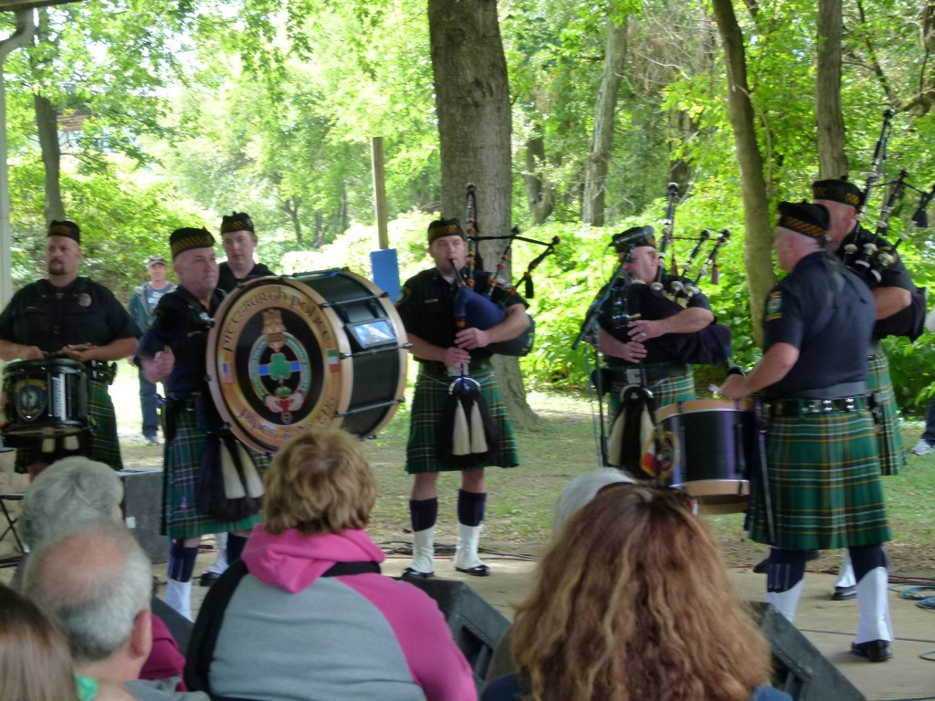 The Pittsburgh Police Emerald Society Pipes and Drums unit in action.
