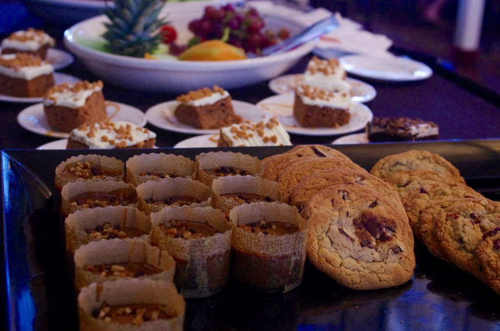 Dessert buffet options included cookies, cake and fruit.