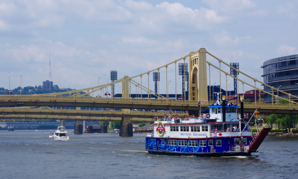 The Duchess passes under the Three Sisters bridges, seen from the Gateway Clipper's Brunch Cruise.