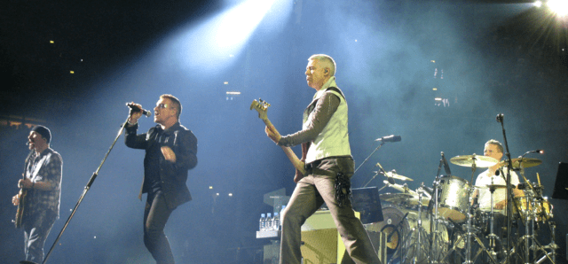 U2 performing on their 360° tour in Gelsenkirchen, Germany in 2009. photo: SteBo and Wikipedia.