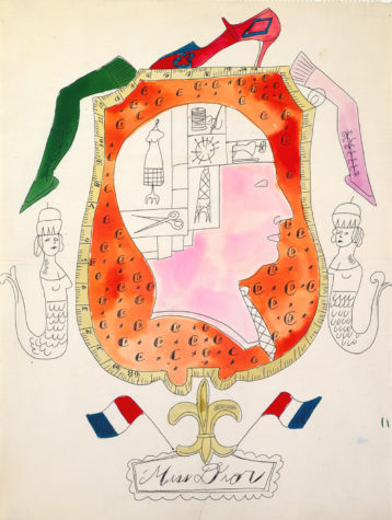 """This sketch would become a storefront window display for Bonwit Teller. Ballpoint pen and watercolor on laid paper. Andy Warhol, """"Miss Dior"""", ca. 1955, The Andy Warhol Museum, Pittsburgh, © The Andy Warhol Foundation for the Visual Arts, Inc."""