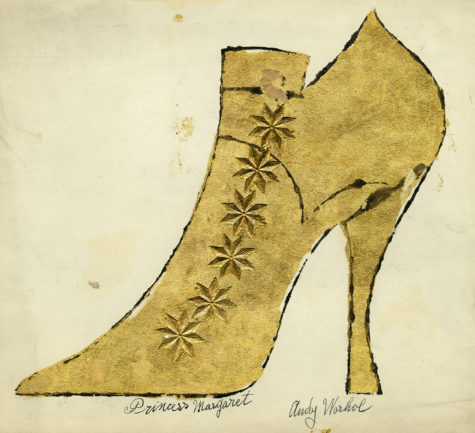 """The 'Adman' exhibit contains many examples of Warhols shoe illustrations including this work on paper. Andy Warhol and Julia Warhola, """"Princess Margaret"""", ca. 1957, The Andy Warhol Museum, Pittsburgh, © The Andy Warhol Foundation for the Visual Arts, Inc."""