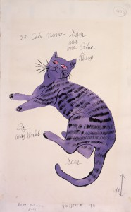 """Cover sketch for Warhol's self-published book """"25 Cats Name Sam and One Blue Pussy."""" While building his career in the 1950s he gave copies of the book to friends and influential people.  (Image © Andy Warhol Foundation)"""