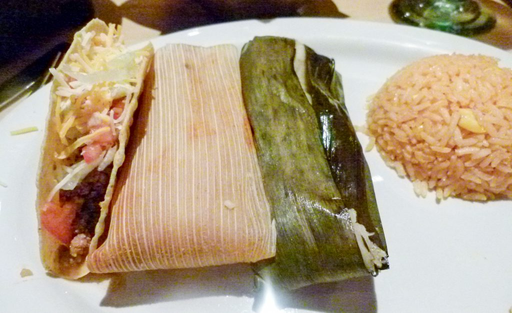 Combo plate (l. to r.) beef taco, northern tamale, southern tamale, fiesta rice.