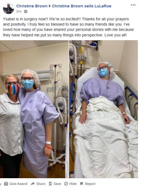 Christine Brown Going Into Ysabel's Surgery