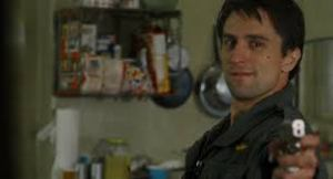 Robert DeNiro, delivering his legendary performance as Travis Bickle in a scene from Taxi Driver.