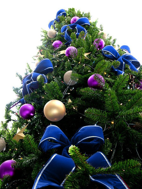 Blue Bead Christmas Tree with Purple & Silver Ornaments