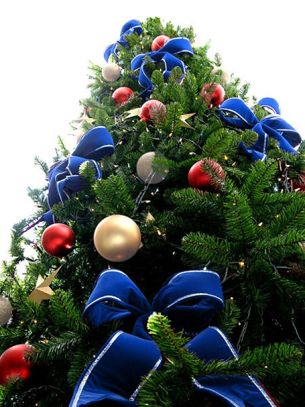 Blue Bead Christmas Tree with Silver/Grey & Red Ornaments
