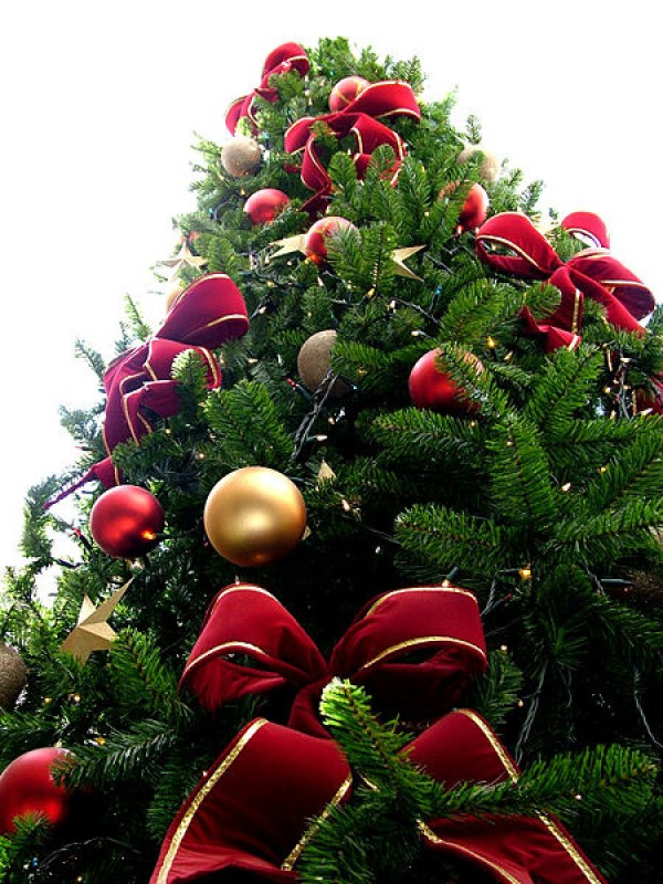 Red Bead Christmas Tree with Red & Gold Ornaments