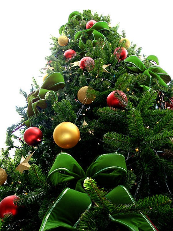 Green Bead Christmas Tree with Golden & Red Ornaments