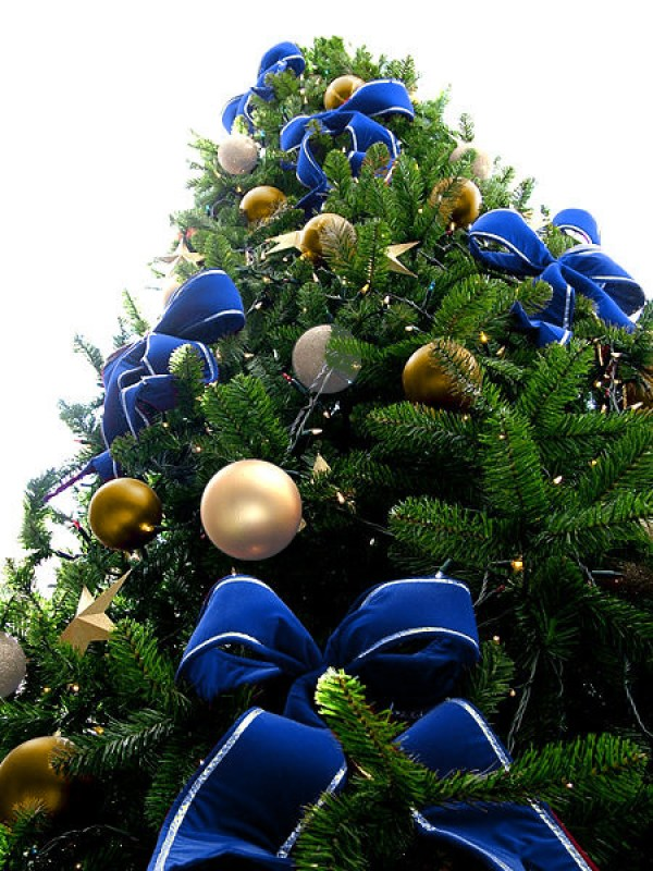 Blue Bead Christmas Tree with Gold & Silver Ornaments