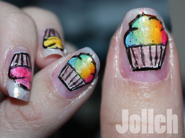 Rainbow Cupcake Nail Art