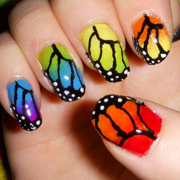 Rainbow Butterfly Nail Art