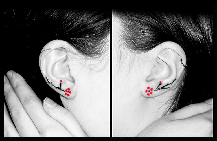 b7dd2e849eed3 Cherry Blossom Ear Tattoo | EntertainmentMesh