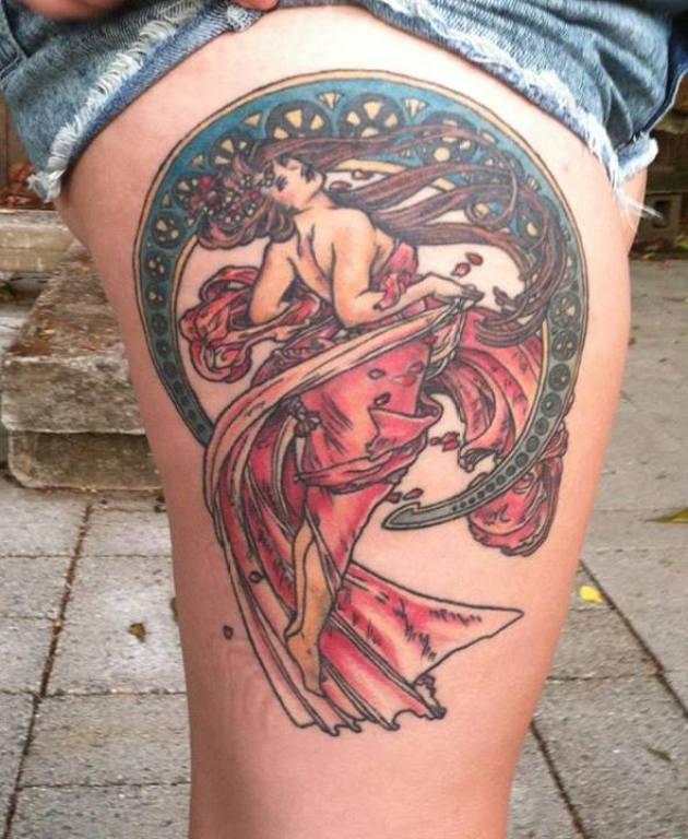 Mucha Thigh Tattoo