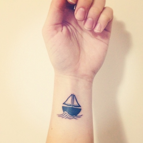 Sailing Boat Minimal Tattoo