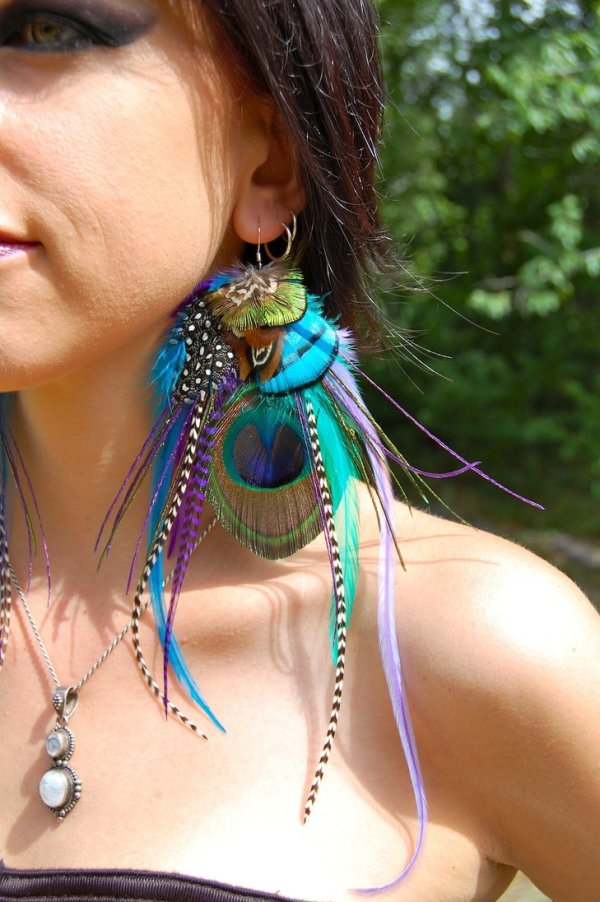 colorful peacock feather earrings