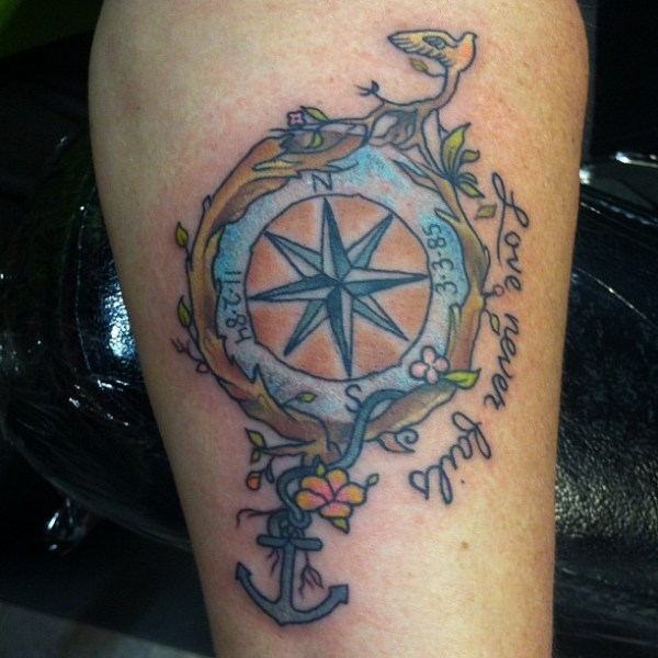 Compass & Anchor Tattoo Design