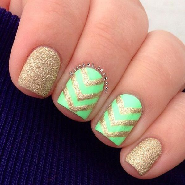 Neon Gold Green Nails