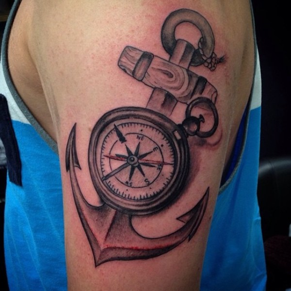 anchor with compass tattoo
