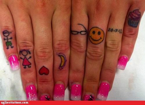 20 funny tattoos design on fingers entertainmentmesh. Black Bedroom Furniture Sets. Home Design Ideas