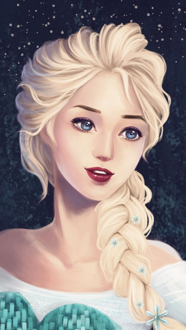 cute painting elsa frozen iphone wallpaper
