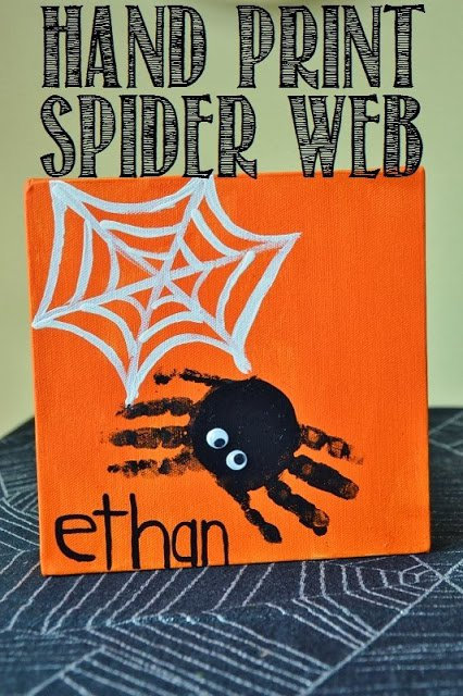 halloween handprint spider canvas craft for kids