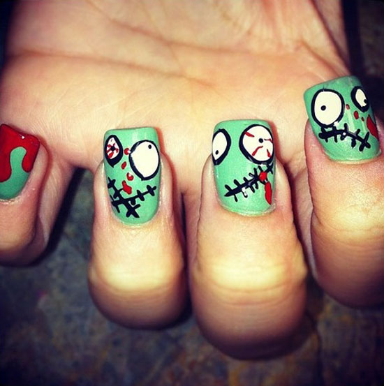 halloween zombie art spooky nails