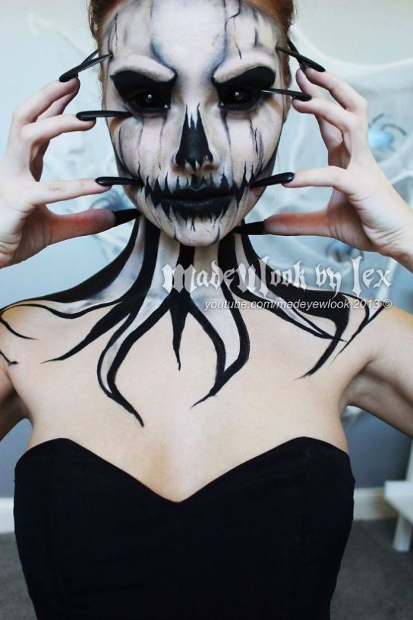 scary demon girl halloween makeup
