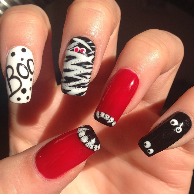 30 Best Spooky Scary Halloween Nail Art Design Ideas 2015