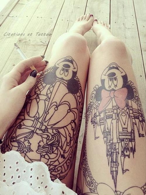 Minnie Mouse And Mickey Mouse Kissing >> 19 Adorable Disney Character Mickey and Minnie Mouse Tattoos | EntertainmentMesh