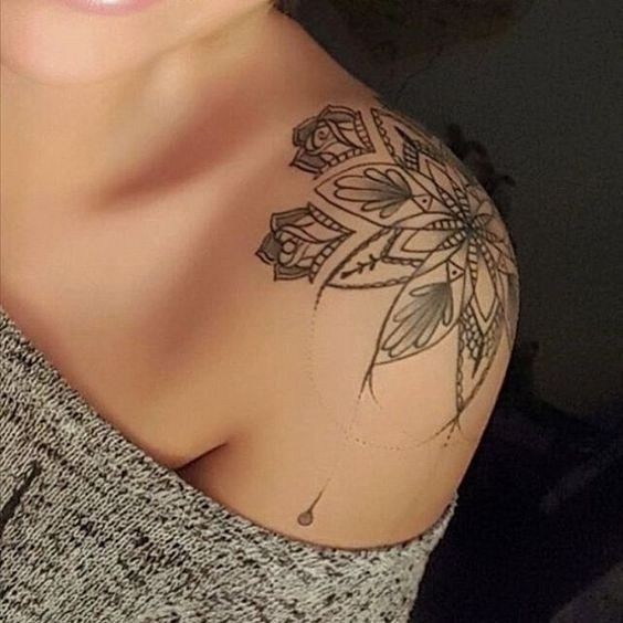 Amazing Flower Pattern shoulder tattoo