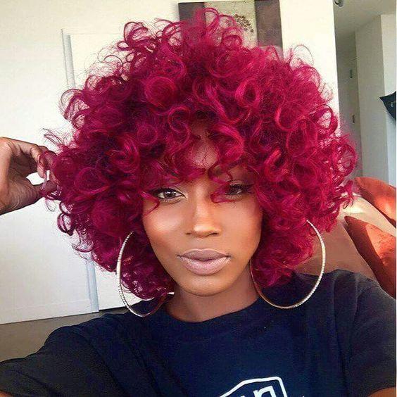 Dark pink crochet braid hairstyle