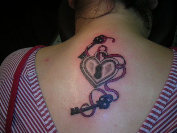 heart locket back tattoo