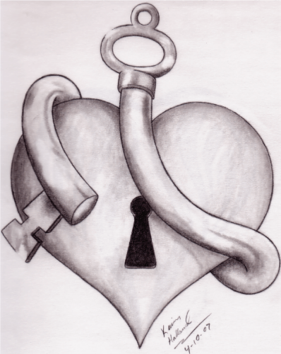 tattoo design drawing key and heart