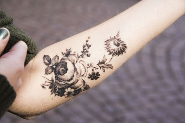 Beautiful Black and White Flower Tattoos 7