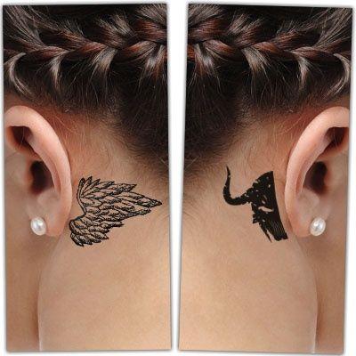 Minimal angel and demon tattoo behind ear