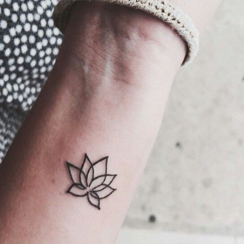 Minimal lotus flower pattern tattoo