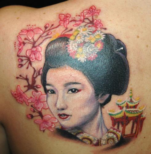 Realistic Tattoo geisha