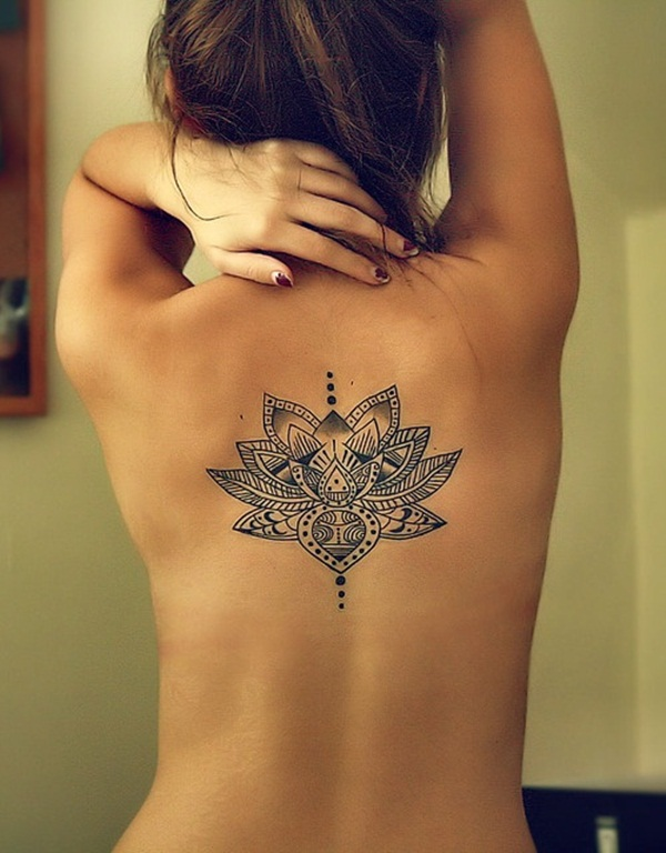 Traditional Lotus flower tattoo on back unique girl tattoo design
