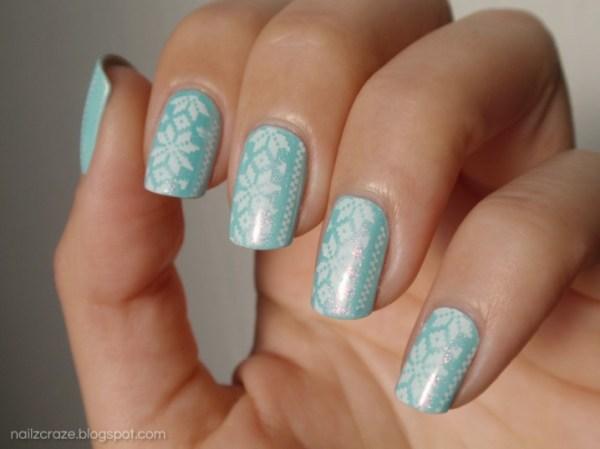 floral mint nail designs