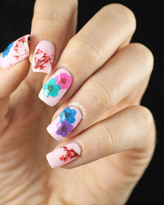 simple floral nails