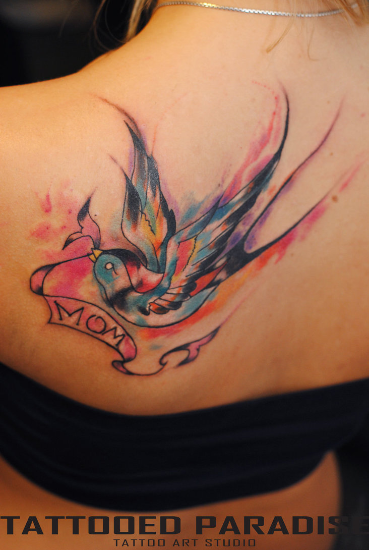 25 Cute Watercolor Bird Tattoo Designs For Girls