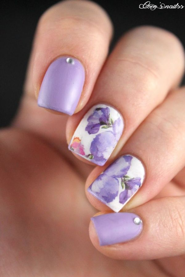white purple painted floral nails