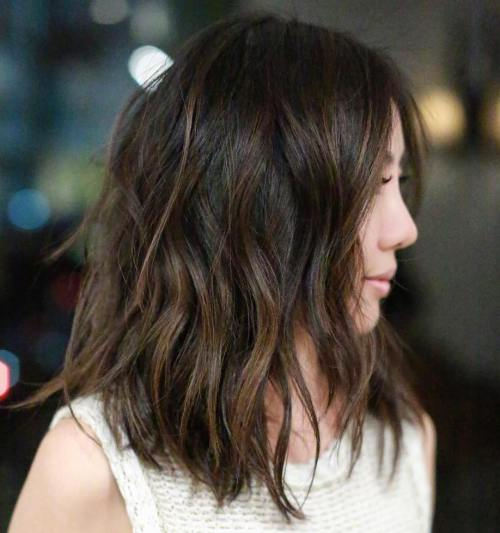 shoulder length brown balayage lob